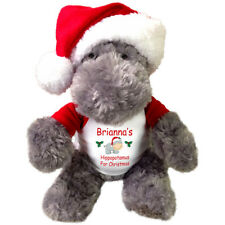 "Hippopotamus For Christmas - 12"" Personalized Stuffed Hippo with Santa Hat"