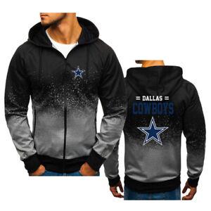 Dallas Cowboy Fans Zip Up Hoodie Classic Hooded Sweatshirt Jacket Coat Top Tops