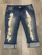 Almost Famous Womens Jeans Cropped Capri Stretch Distressed Wash 7