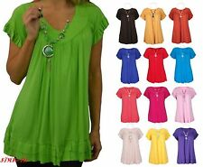 Womens Ladies Frill Necklace Gypsy Ladies Tunic V Neck Summer Tops Plus Sizes