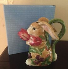"Fitz and Floyd Easter BLACKBERRY RABBIT Bunny Pitcher 8.5""  New in Box"