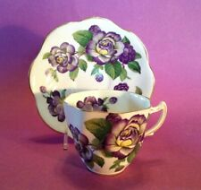 Rosina Teacup And Saucer - Scalloped Rims - Purple Roses - Bone China - England