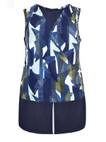 New Ex NEXT Blue Wrap Sleeveless Step Hem Blouse Top Size 12 - 22 Abstract Print