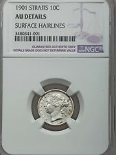 1901 Straits Settlements 10 Cents, NGC AU Details - Cleaned, Malaysia