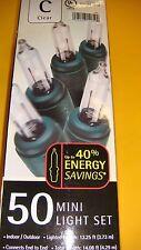 Christmas  50 Mini Light Set Clear %40 Energy Saving  Lights ~  green wire  UL