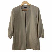 Eileen Fisher Textured 100% Silk Open Blazer Jacket Taupe Pockets Size Small