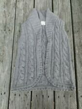 Crewcuts ~ Girls Gray Cable Knit Sleeveless Sweater Jacket ~ Size 8