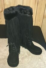 New Pierre Dumas Women Sz 8 Black Apache-4 Fringe Moccasin Fashion Boots