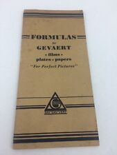 1927 Guide to FORMULAS FOR GAVAERT FILMS, PAPERS & PLATES Developers TONERS