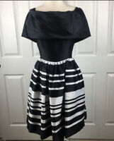 Albert Nipon Black And White Striped Cocktail Dress