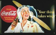 Blechschild Coca Cola Your thirst takes wings Pilotin Flugzeugpropeller 20x30