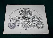 Frederic T Baker. Gunmaker riproduzione carta Gun Case Accessori etichetta