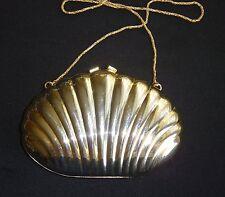 Vintage Gold Brass CLAM SHELL Evening Bag Purse Clutch Sasha Hong Kong Art Deco