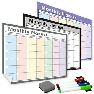 Sticky Monthly Planners, Dry Erase Wall Calendar Self Adhesive Weekly Daily Wipe