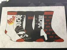 AC/DC Music Band Novelty Men's Casual Crew Socks 5 Pair Fits Shoe Size 8-12 NEW