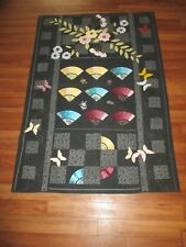 "Machine Stitched Embroidered Quilted Blanket Throw Quilt 68"" x 46"" Butterflies"