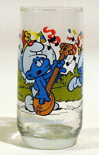 VINTAGE SMURF GLASS 1983 HARMONY SMURF WALLACE BERRIE