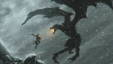 The elder scrolls legends warrior dragon snow Silk poster 14 X 24 inch wallpaper