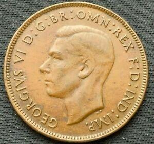 Australia 1944 Penny AU+     Bronze Coin     #B181