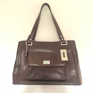 Wilsons Leather Roma Laptop Top Brief Case Purse Bag Multi Pocket Brown NWT