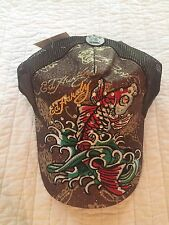 NWT Ed Hardy Brown Bronze Koi Fish Baseball Cap