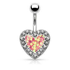 Opal Heart Belly Button Ring Jeweled Glitter Bokeh Navel Body Piercing