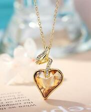 New Made With Swarovski Crystal Champagne Heart 14k Gold Plated Necklace Pendant
