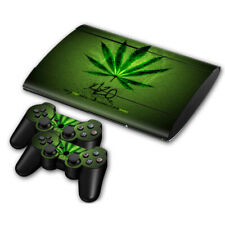 For Playstation 3 Ps3 Super Slim Skin Design Sticker Protector Set Weed Cannabis