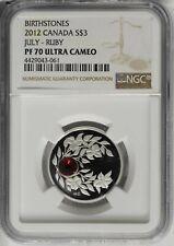 2012 Canada Silver $3 Birthstone July Ruby Ngc Pf70 Proof