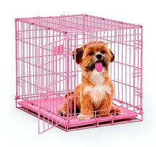 Pink Crate Dog Cage Pet Safe Travel Small Animal Kennel Puppy Cat Carrying 24 in