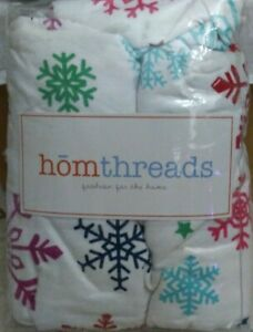 Homethreads Flannel Twin Duvet & Sham Snowflake Pattern NEW