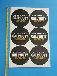 CALL OF DUTY WWII Video Game Store Display Launch Event Promo Sticker Sheet!