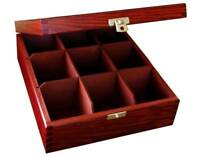Wooden Tea Bag Box 9 Compartments Sections Storage Caddy Chest Organiser (H9mm)