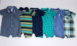 Baby Boy 12 Month Carter's Summer Shorts Rompers Outfit Clothes Lot of 6!!