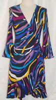 Diane von Furstenberg Stretch SILK Wrap Dress Retro Multi-Color Fluted Hemline 6