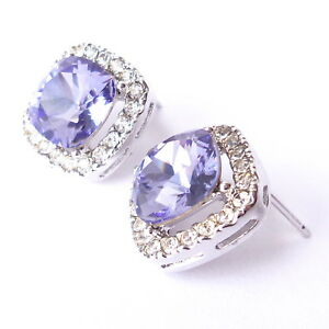Lavender Purple Halo Stud Earrings w/ 10mm Cushion Swarovski Crystal Prom Gift