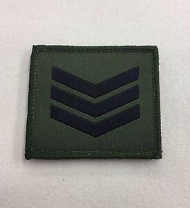 Sergeant Green Rank Badge, Sgt 3 Bar Stripe Army MTP Military Patch, Hook & Loop