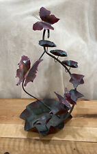 Vintage Hand Forged Copper Waterfall 7 Level Butterfly Fountain with Pump PATINA