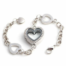 Crystal Heart Memory Living Floating Charm Locket Bracelet
