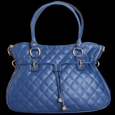 Noble Bags Zara Quilted Blue XL Strap Hobo Bag Ladies Leather Handbag Rrp