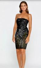 Meshki Cocktail Black Sequin Sheer Bodycon Tube Dress BNWT New Size M/ UK 10 383