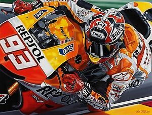 Marc Marques 90x70 cms limited edition MotoGP  art print by Colin Carter