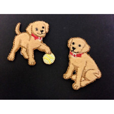 Labrador Dogs Puppies Playing Set Of 2 Iron On Craft Motif Stylish Patch