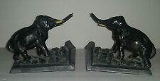 ANTIQUE 1922 L.V. A RONSON ELEPHANT HEAD BRONZE ? BOOK ENDS Trunks Up