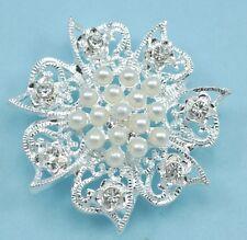 5x 3-strand Rhinestone Diamante Pearl Flower Connectors Wedding Embellishment