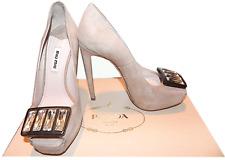 $790 Miu Miu -Prada Jeweled Brooch Nude Beige Peep Toe Platform Pump Shoe 6 / 36