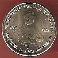 INDIA 5 RUPEES 2013 SWAMI VIVEKANANDA 150 BIRTH ANNIVERSARY 2 COINS LOT