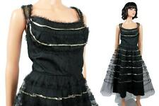 50s Prom Dress XS Vintage Sleeveless Black Tulle Silver Sequins Shelf Bust Gown