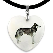 Siberian Husky Natural Shell Mother Of Pearl Heart Pendant Necklace Chain PP3