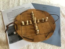 Hnefatafl - Brandub hand-crafted leather game board with antler game pieces